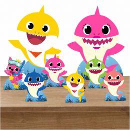 Kit Festa Totem Display Baby Shark Amarelo e Rosa - 8 Peças