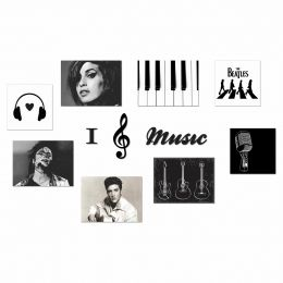 Kit Placas e Frases Decorativas Music