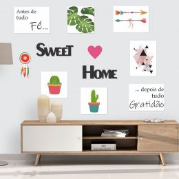 Kit Placas e Frases Decorativas Sweet Home