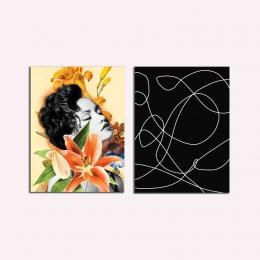 Kit Quadro Placas Decorativa MDF Quarto Sala Mulher e Flor 2 peças