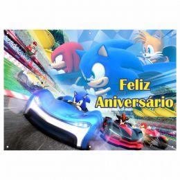 Painel de Festa Lona Sonic