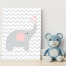 Placa Decorativa Elefante Chevron