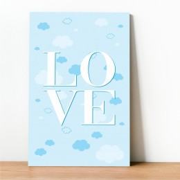 Placa Decorativa Love Azul