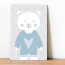 Placa Decorativa Urso Azul
