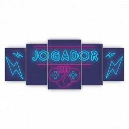 Quadro Decorativo Mosaico Quarto Jogador 5 peças - 144x60cm