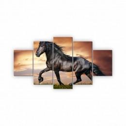 Quadros Decorativos Mosaico Quarto Sala Cavalo 5 peças