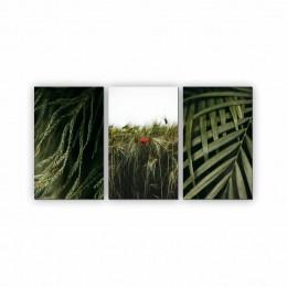 Quadro Decorativo Mosaico Quarto Sala Folhas 3 peças - 126x65cm