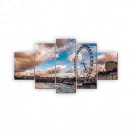 Quadros Decorativos Mosaico Quarto Sala Londres 5 peças