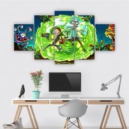 Quadros Decorativos Mosaico Quarto Sala Rick and Morty 5 peças