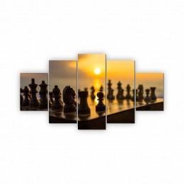 Quadros Decorativos Mosaico Quarto Sala Xadrez I 5 peças