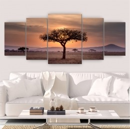 Quadros Decorativos Mosaico Sala Árvore Natureza 5 peças 144x60cm