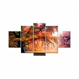 Quadros Decorativos Mosaico Sala Árvore Natureza II 5 peças