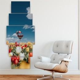 Quadro Decorativo Mosaico Sala Balão 5 peças - 144x60cm