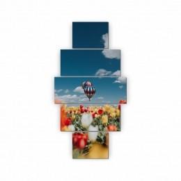 Quadros Decorativos Mosaico Sala Balão 5 peças