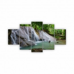 Quadros Decorativos Mosaico Sala Cachoeira Natureza 5 peças