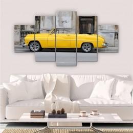 Quadros Decorativos Mosaico Sala Carro Retrô Amarelo 5 peças