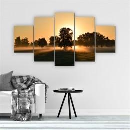 Quadros Decorativos Mosaico Sala Entardecer Árvore 5 peças