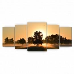 Quadro Decorativo Mosaico Sala Entardecer Árvore 5 peças 144x60cm