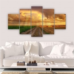 Quadros Decorativos Mosaico Sala Entardecer Natureza 5 peças
