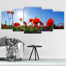 Quadro Decorativo Mosaico Sala Flores 5 peças - 144x60cm