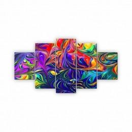 Quadros Decorativos Mosaico Sala Pintura Aquarela 5 peças