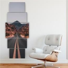 Quadro Decorativo Mosaico Sala Quarto Estrada 5 peças - 144x60cm