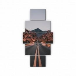 Quadros Decorativos Mosaico Sala Quarto Estrada 5 peças