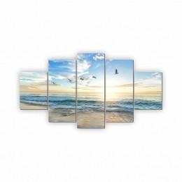 Quadros Decorativos Mosaico Sala Quarto Praia 5 peças