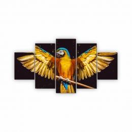 Quadros Decorativos Mosaico Quarto Arara 5 peças