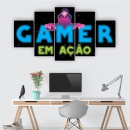 Quadros Decorativos Mosaico Quarto Gamer em Ação 5 peças