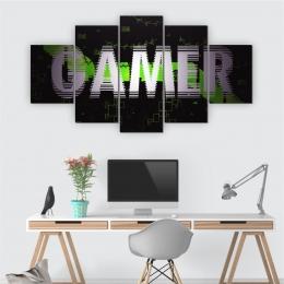 Quadros Decorativos Mosaico Quarto Gamer 5 peças