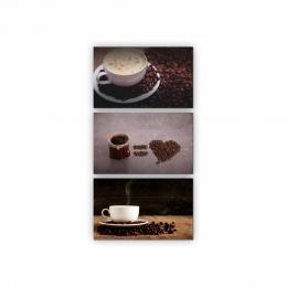 Quadros Decorativos Mosaico Quarto Sala Café MOD2 3 peças - 126x65cm