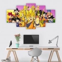 Quadros Decorativos Mosaico Quarto Sala Dragon Ball 5 peças