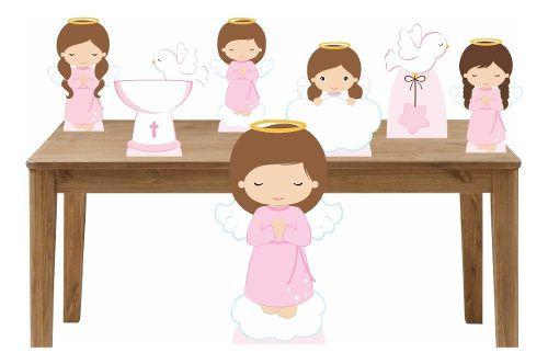 Kit Totem Display Para Decoração Batizado Menina - 7 Peças