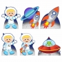 Kit 6 Displays de Mesa Astronauta Mod 3