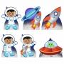 Kit 6 Displays de Mesa e Painel Astronauta 2