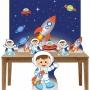 Kit Decoração Festa Totem Display 8 peças Astronauta