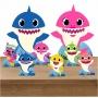 Kit Festa Totem Display Baby Shark azul e Rosa - 8 Peças