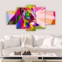 Quadros Decorativos Mosaico Quarto Leão Colorido 5 peças
