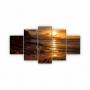 Quadros Decorativos Mosaico Quarto Praia Por do Sol 5 peças