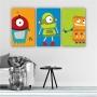 Quadros Decorativos Mosaico Quarto Infantil Robô 3 peças - 126x65cm