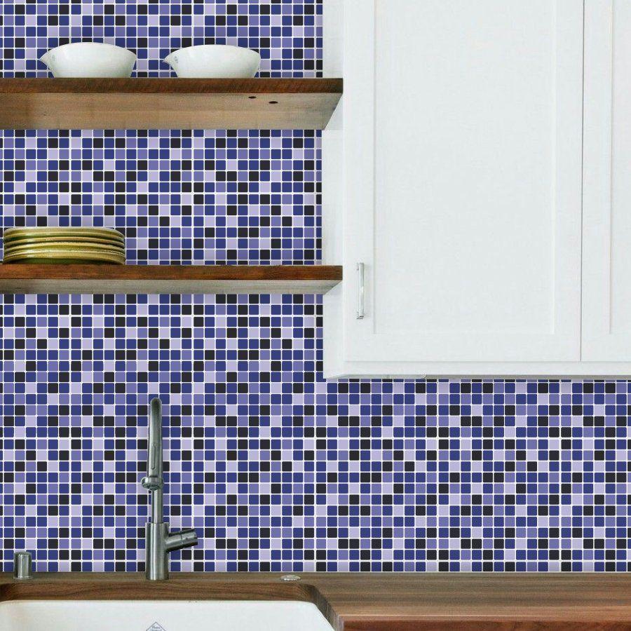 Kit Revestimento 30x30cm Lavável Azul e Preto