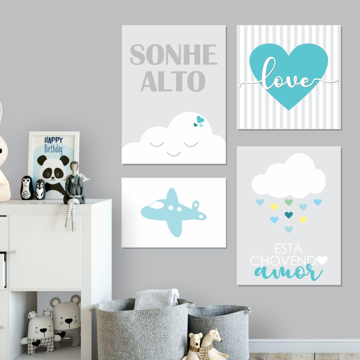 Kit Quadro Placa Decorativa MDF Quarto Infantil Menino 4 pçs