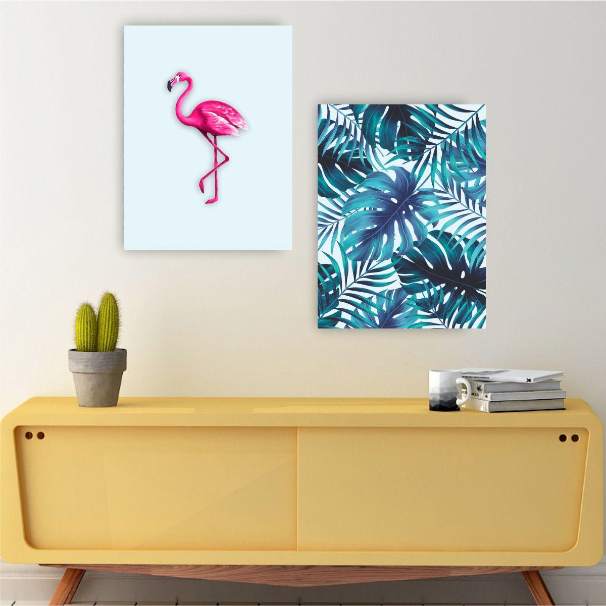 Kit Quadro Placas Decorativa MDF Quarto Sala Flamingo 2 peças