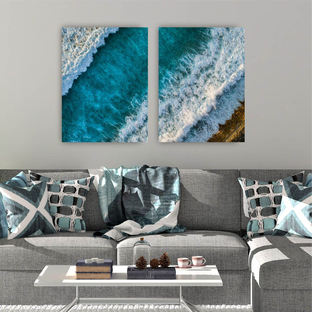 Kit Quadro Placa Decorativa MDF Sala Quarto Mar com 2 peças