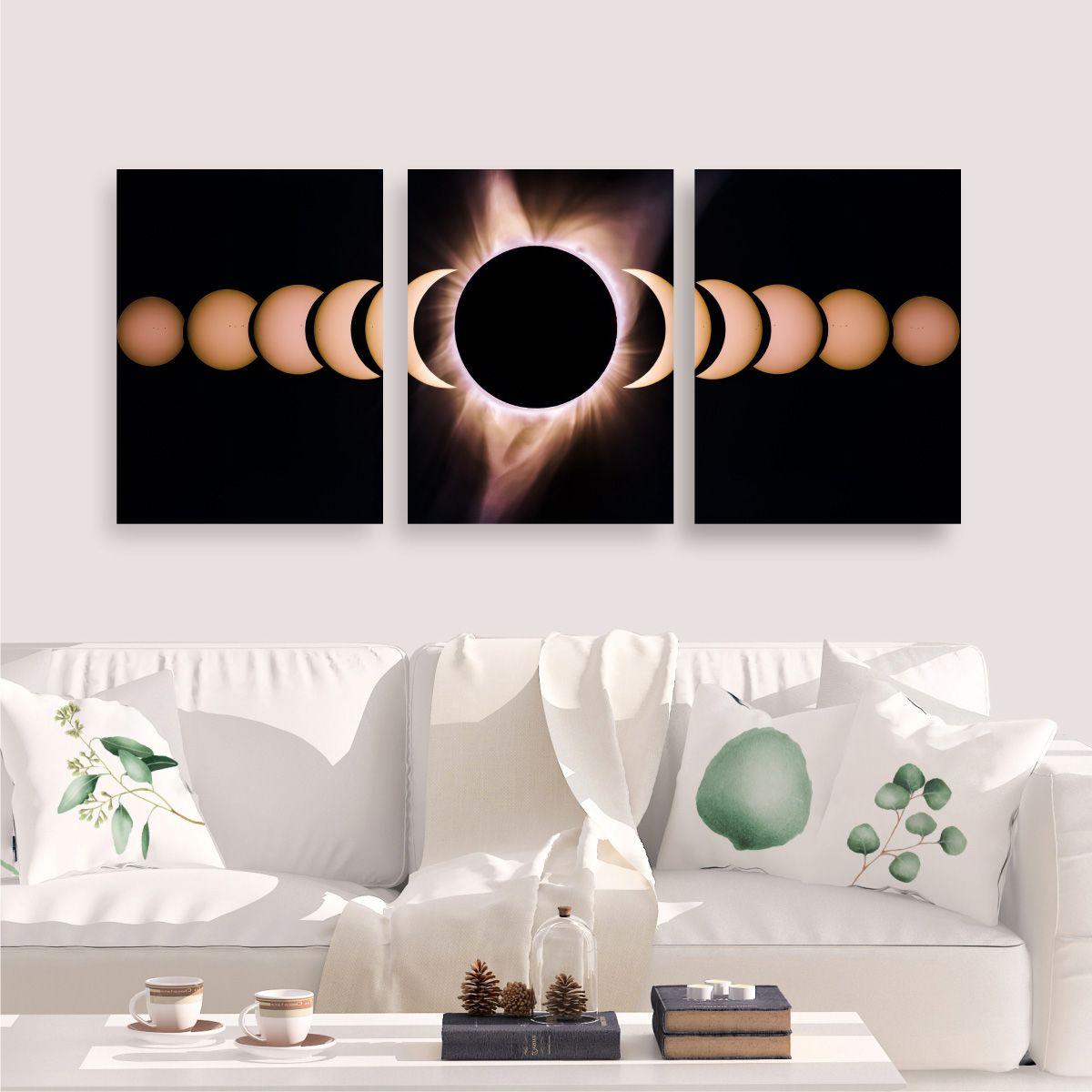 Kit Quadro Placa Decorativa MDF Sala Lua com 3 peças
