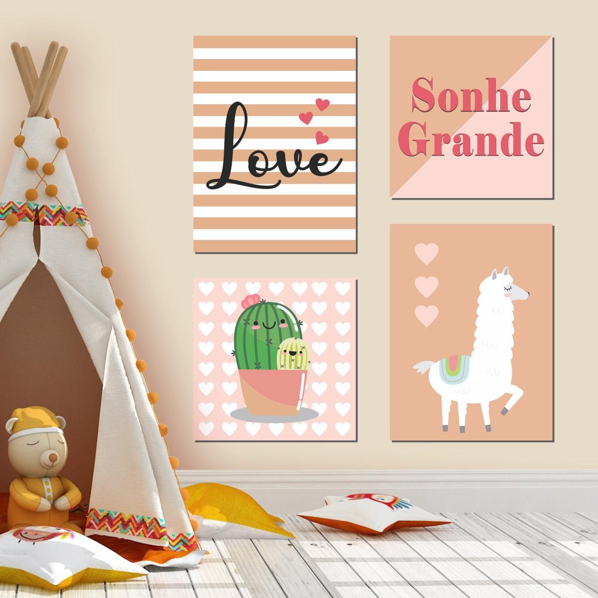 Kit Quadro Placa Decorativa MDF Quarto Infantil Menina Lhama 4 peças