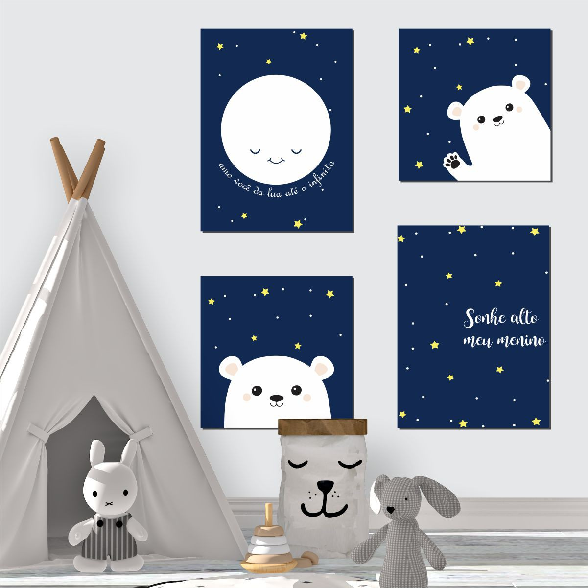 Kit Quadro Placa Decorativa MDF Infantil Menino Urso 4 pçs