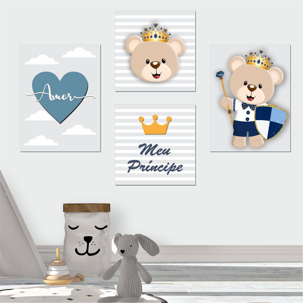 Kit Quadro Placa Decorativa MDF Infantil Menino Ursinho 4 pçs