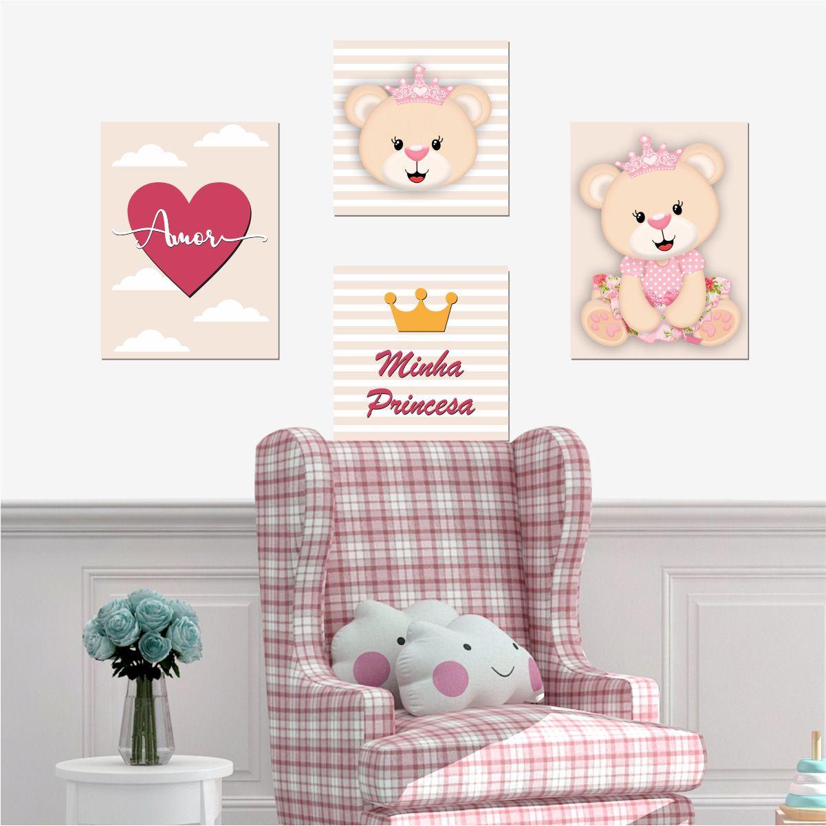 Kit Quadro Placa Decorativa MDF Infantil Menina Ursinha 4 pçs